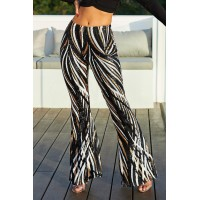 Black Swirl Sequin Kick Flare Trousers