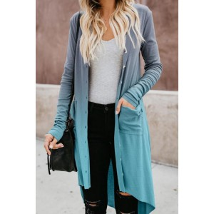 Blue Ombre Button Down Pocketed High Low Cardigan Gray Purple