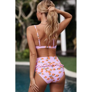 Pink Fruit Print Ruffled Detail High Waist Bikini Multicolor