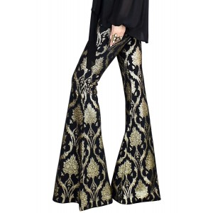 Retro Gold Leaf Foil Print Flare Trousers