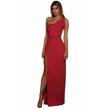 Black Asymmetric One Shoulder Floor Length Party Dress Red