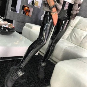 NORMOV Fashion Ladies Leggings PU Leather Leggings Black Seamless Gothic Slim Long Pants Women High Waist Sexy Skinny Leggings