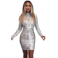 Neck Slim Long Sleeve Above Knee Mini Pencil Dress Women's Sexy Nightclub Style