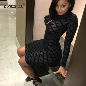 Hot Sale 2019 Sexy Women Fishnet Dress Bandage Translucent Fashion Club Wear Mini Dress Long Sleeve Low Cut Package Hip Dress