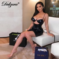Dulzura 2019 summer women dress sexy bodycon party dress hollow out backless dresses elegant festival black club streetwear club Black