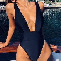 Sexy V-neck One-piece Swimsuit Women high waist Thong women's swimwear 2019 Monokini Simple black white Beach Bathing Suit Black White