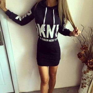 Europe and america hot 2018 autumn winter style hooded package hip long sleeve dress women clothing White Gray Black