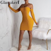 Glamake Sexy knitted off shoulder bodycon dress Women backless lace up mini dress elegant Female autumn party club dress vestido Red yellow