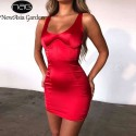 NewAsia Summer Red Dress Women Clothes 2019 Chic Curve Tank Stain Dress Woman Party Night Wear Elegant Slim Bodycon Mini Dress Red