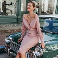 Simplee Sexy v-neck women knitted skirt suits Autumn winter batwing sleeve 2 pieces Elegant party female sweater pink dress Blue
