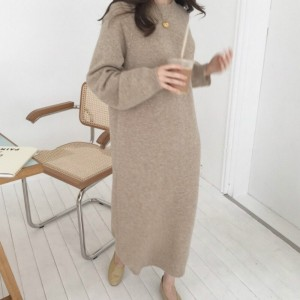 Women autumn Winter Long Sweater Dress Female Long Sleeve Straight oversized Knitted dresses round collar cozy