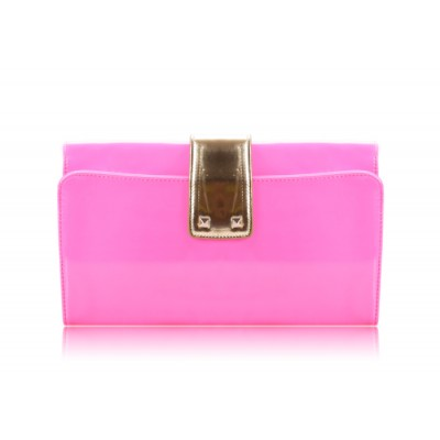 Elegant Style Women's Clutch With Patent Leather and Color Block Design