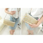 Fashion Women's Evening Bag With Rhinestone and Metallic Design
