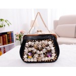Party Women's Evening Bag With Rhinestone and Rivets Design