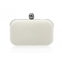 Party Women's Evening Bag With Snake Veins and Rivets Design White Multi Color