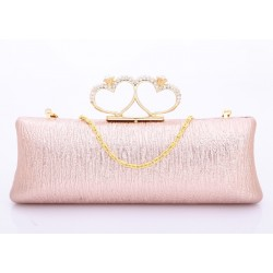 Party Women's Evening Bag With Solid Color and Hard Shell Rhinestone Design