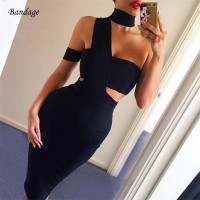 Women Winter Bandage Dress Party Cutout One-Shoulder Black Elegant Dresses Celebrity Evening Club Bodycon Vestidos White