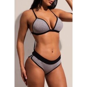 Gray Sports Swimming Bikini Set