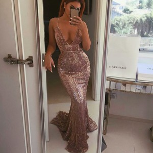 Open Back Sequined Maxi Dress Floor Length Dress Sleeveless Strapless Deep V Neck Mermaid Party Dress Champagne Gold Silver