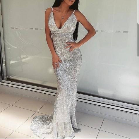 1ed150ff ... Open Back Sequined Maxi Dress Floor Length Dress Sleeveless Strapless  Deep V Neck Mermaid Party Dress ...