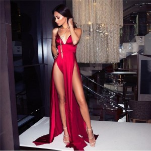 Red Satin V Neck Padded Maxi Dresses Two High Splits Backless High Rise Floor Length Party Dress
