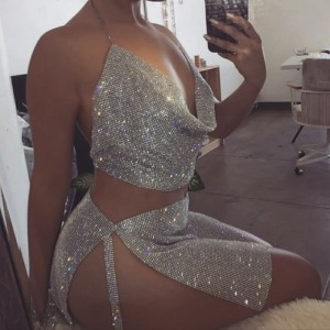 Rhinestone Metal Outfits Backless Halter Dress Gold Silver Night Club Dresses