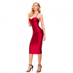 Satin Padded Midi Dresses Party Dress Sleeveless Split Back Night Club Gold Wine Red Kneeth Length Dresses