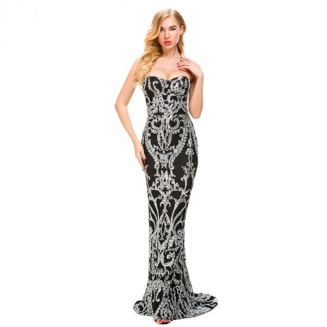 a123a81c7b47 Sexy Strapless Mermaid Dresses Silver Gold Sequined Black Party Dress  Backless Strapless Bodycon Stretchy Evening Maxi Dress