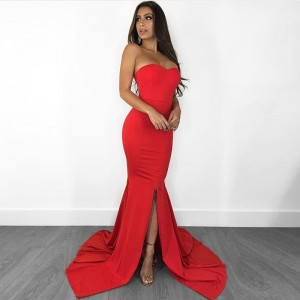 Strapless V Neck Padded Mermaid Dress Long Split Front Bodycon Draped Backless Red Black Elegant Floor Length Dress