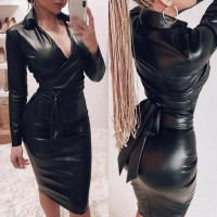 2019 New Women Sexy V Neck Black Dress PU Leather Long Sleeve Bodycon Shirt Dresses Mini Dress