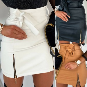 New arrival 2020 Fashion Sexy High waist PU leather Women Skirts Sashes Zipper Pencil Mini skirt Autumn Winter White Black skirt