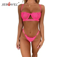 SEBOWEL Neon Pink Women Floral Lace Lingerie Set Sexy Hollow Out Bralette Lady Bra Top and Thong Female Lace Lenceria Underwear