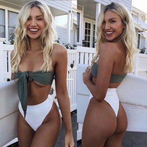 New Arrival Summer Sexy Solid Bikini Set Padded Bra Lace Up Bow Bandeau Bikini High Waist Triangle Swimsuit Beach Bathing Suits