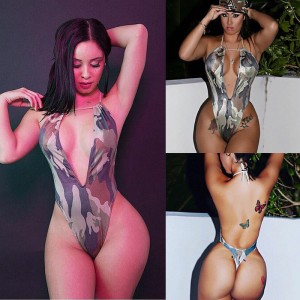 New sexy Women deep V Neck Camouflage print one piece Bikini Monokini Swimsuit female bandage backless Swimwear Jumpsuit Bathing