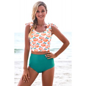 Orange Print Shoulder Tie Tankini Swimsuit Apple
