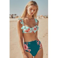 Red Floral High Waist Ruffle Underwire Bikini Swimsuit Green