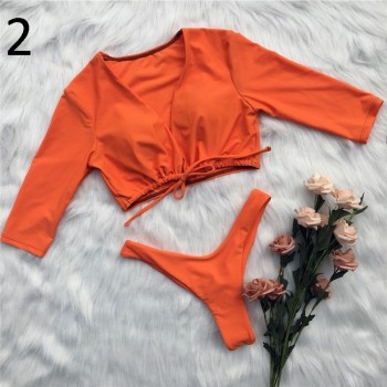 In-X Long sleeve swimsuit Solid brazilian swimwear women High cut thong bikinis 2020 mujer Bondage bathing suit Sexy beach wear