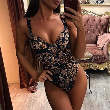 In-X Paisley print one piece swimsuit female Push up bodysuit one-piece suits Vintage high cut swimwear women swimsuit Bathers