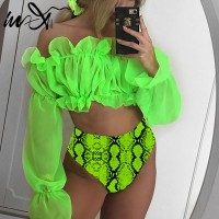 In-X Sexy neon green bikini set Mesh long sleeve swimsuit female High waist bikini 2020 Snake print swimwear Bathing suit women
