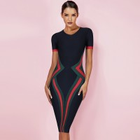 Ocstrade Women Vestidos Bandage Dress 2020 New Summer Color Block Club Party Bodycon Dress Elegant High Quality HL Bandage Dress