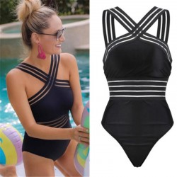 2020 Newest Women Swimsuits Sexy One Piece Swimwear For Women Beach High Neck Bandage Cross Back Female Brazilian Swimming Suit