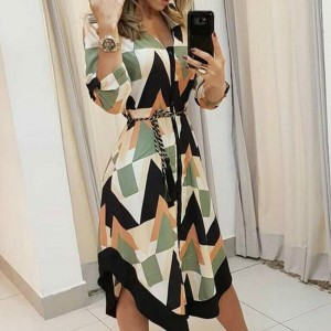 Women Wave Printed Asymmetrical Dresses Boho Fashion Long Sleeve Shirt Sundress Autumn Summer Holiday beach vestido clothing XXL