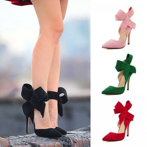 New Women Pumps Comfort Women Shoes Bow High Heels Casual Ladies Shoes Women Sandals Pointed Woman Heels Stiletto Plus Size 43