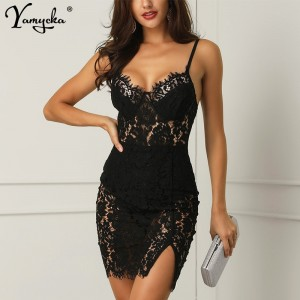 Sexy Black Lace Summer Dress women Backless Strap perspective Dress elegant vintage Night club Party dresses Vestido clothes New