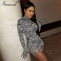 Simenual Leopard Sexy Hot Women Party Dress With Gloves Long Sleeve Skinny Clubwear Fashion Bodycon Mini Dresses Autumn Slim New