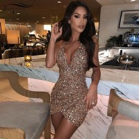 Bonnie Forest Womens Glam Slim Sequins Bodycon Party Dress Womens Glitter Sexy Backless Ruched New Year Party Dress Clubwears