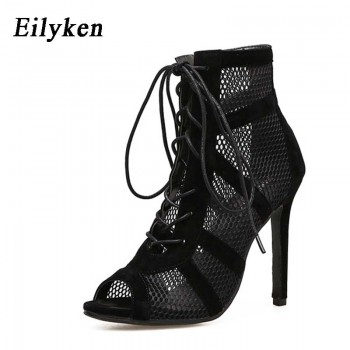 Eilyken 2020 Fashion Black Summer Sandals Lace Up Cross-tied Peep Toe High Heel Ankle Strap Net Surface Hollow Out Sandals