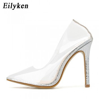 Eilyken Clear PVC Transparent Pumps Sandals Perspex Crystal High Heels Stilettos Point Toes Party Silver Pumps Womens Shoes size