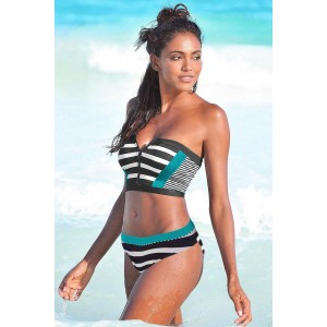 Green Patch Striped Bustier Bikini Swimsuit