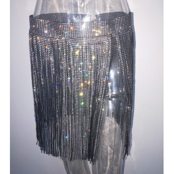 Bonnie Forest Glitter Diamonds Studded Mini Skirt Womens Sparkle Sequin Tassel Crystal Skirt Festival Night Out Outfits